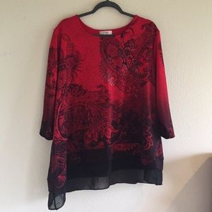 Red & black paisley tunic
